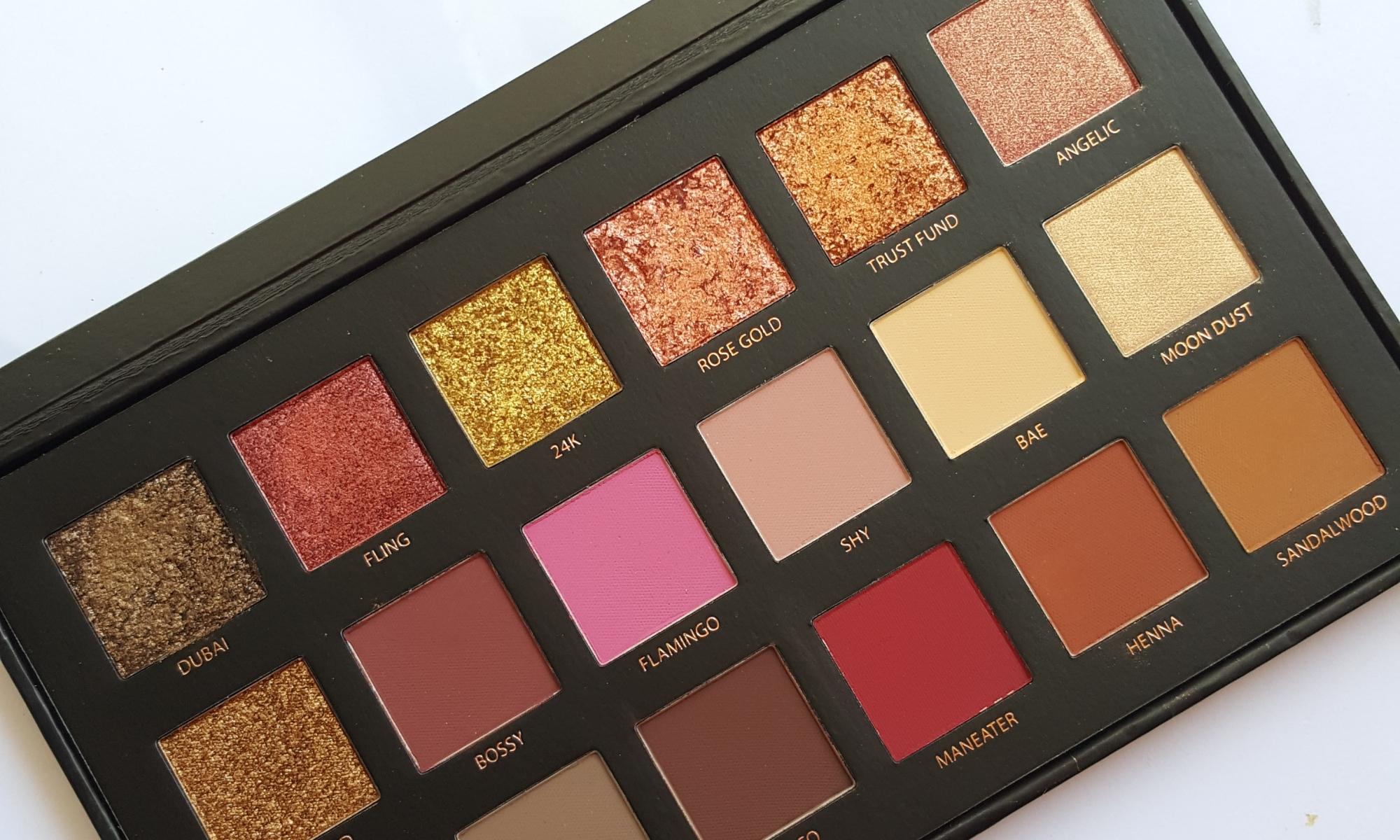 huda beauty textured shadows rose gold eyeshadow palette, eye shadow palette, review, swatches, metallic shadows, matte shadows